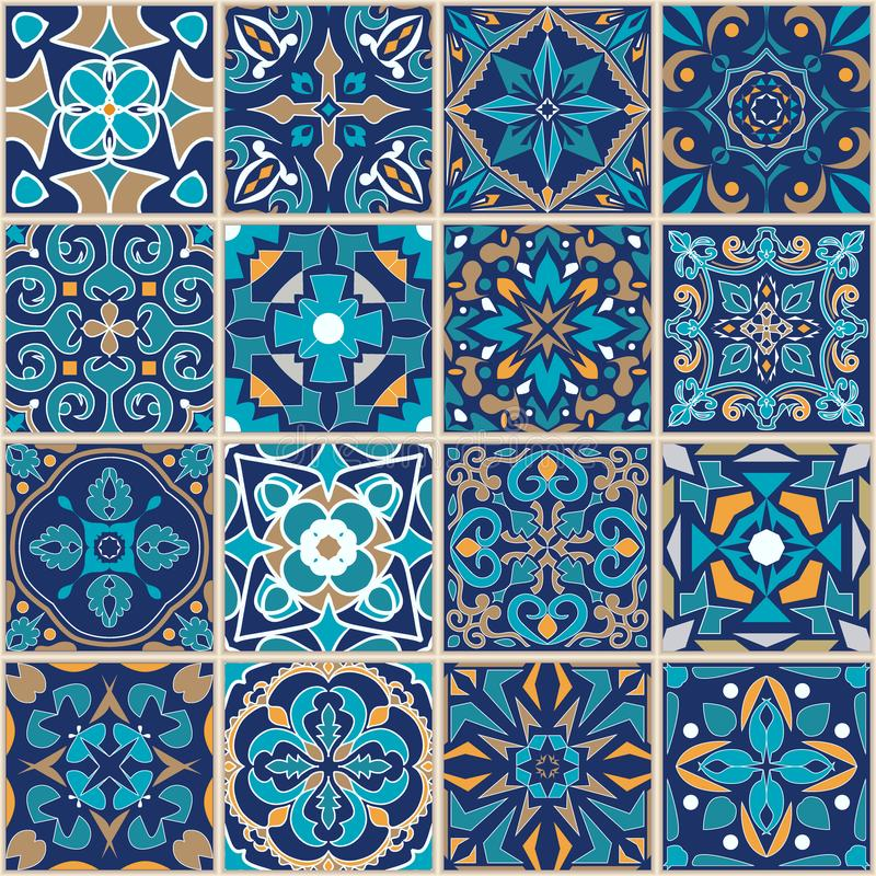 Prydnad för vektormosaikpatchwork med fyrkantiga tegelplattor seamless textur Dekorativ modell för portugisiska azulejos stock illustrationer