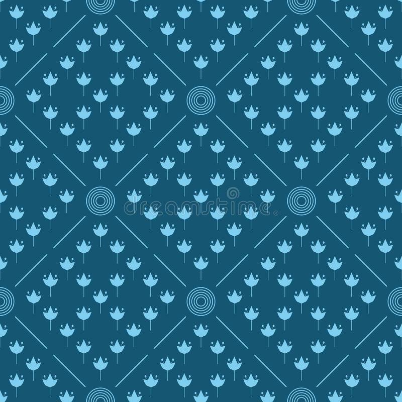 Prydnad från cirklar, linjer och konturer av blommor seamless geometrisk modell vektor illustrationer