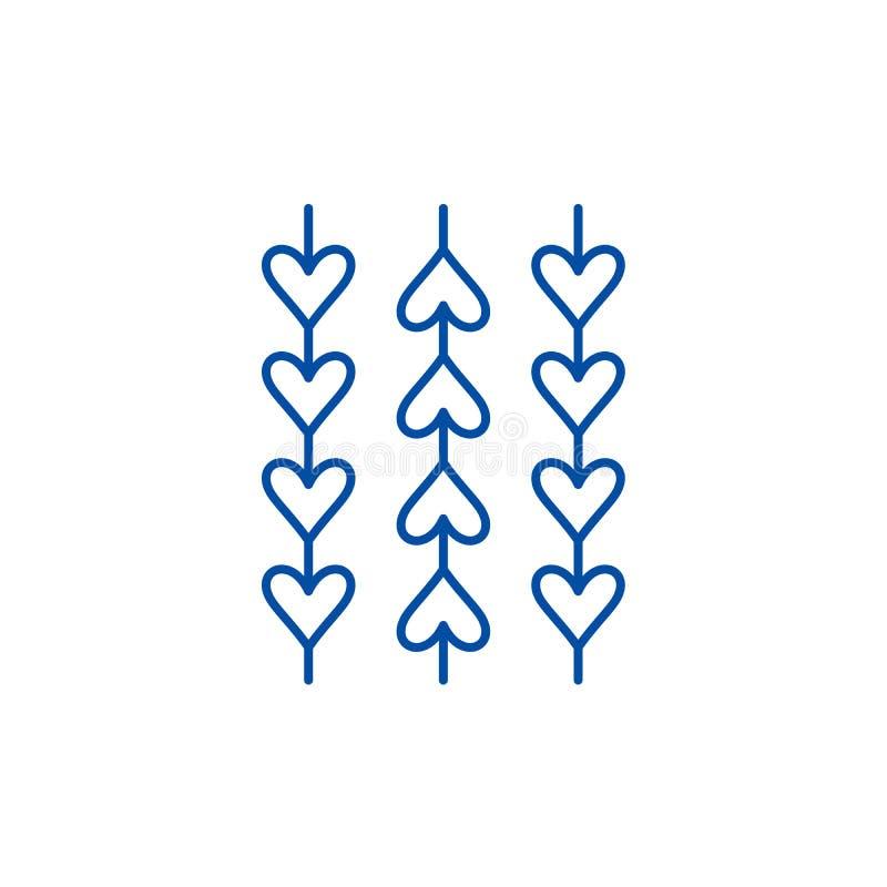 Prydnad från hjärtalinjen symbolsbegrepp Prydnad från det plana vektorsymbolet för hjärtor, tecken, översiktsillustration vektor illustrationer
