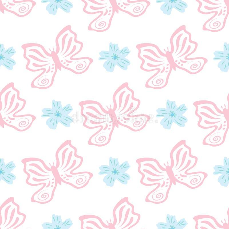 Prydnad med blommor och fjärilar som dras av handen seamless gullig modell royaltyfri illustrationer
