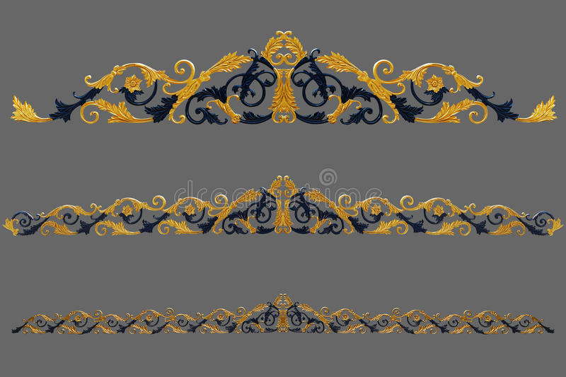 Prydnadbeståndsdelar, guld- blom- designer för tappning stock illustrationer
