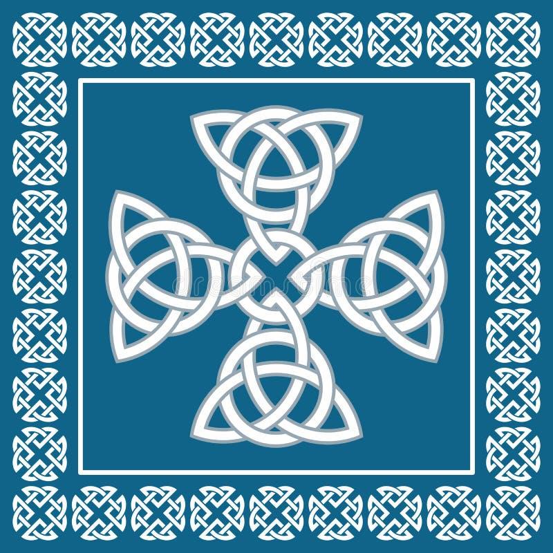 Prydnaden för det keltiska korset, symboliserar evighet, vektorillustration stock illustrationer