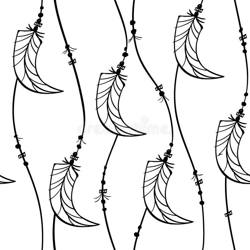 Prydnaden för smycken för fjädern för den Boho modellkurvan gjorde randig den sömlösa, våg linjer med fjäderform, svart som isole royaltyfri illustrationer