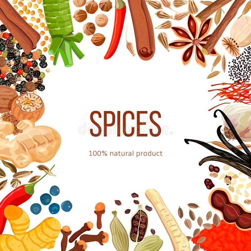 Prydnaden gjorde av kryddor med naturprodukten för text 100 stock illustrationer