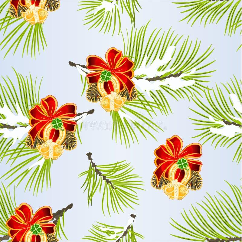 Prydnader för jul för garnering för sömlös texturjul och för nytt år med svinet för hästsko för växt av släktet Trifolium för bla royaltyfri illustrationer