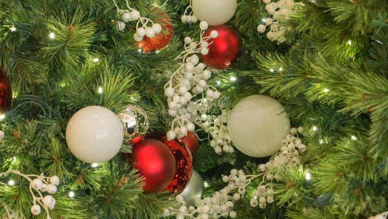 Prydnader för röd och vit jul för Closeup på träd arkivbilder