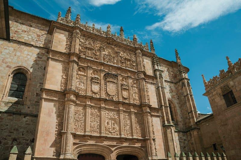 Prydnader som snidas i sten på den Salamanca universitetfasaden royaltyfria foton