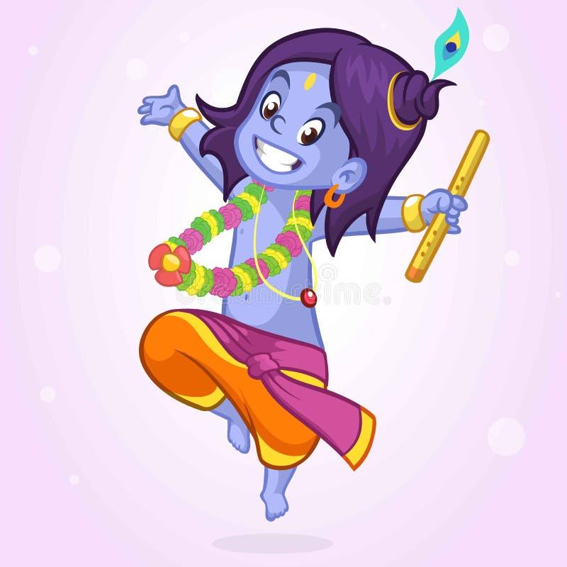 Prydnadkort med den Lord Shri Krishna födelsedagen Illustration i vektorkonst Lycklig hinduisk Janmashtami dag vektor illustrationer