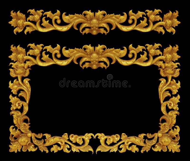 Prydnadram av guld blom- pläterad tappning fotografering för bildbyråer