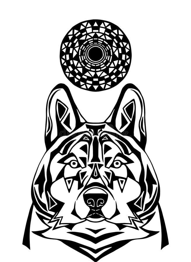 Prydnadvarg på vit bakgrund Mönstrad konst av den stränga vargen royaltyfri illustrationer