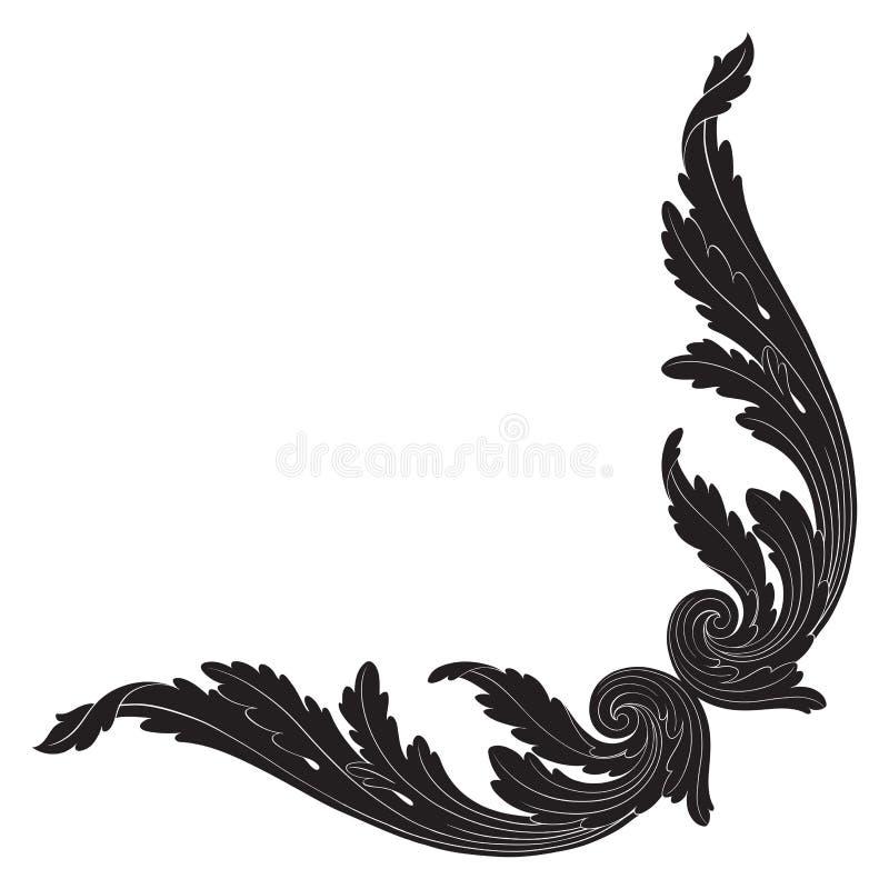 Prydnadvektor i barock stil för filigran stock illustrationer