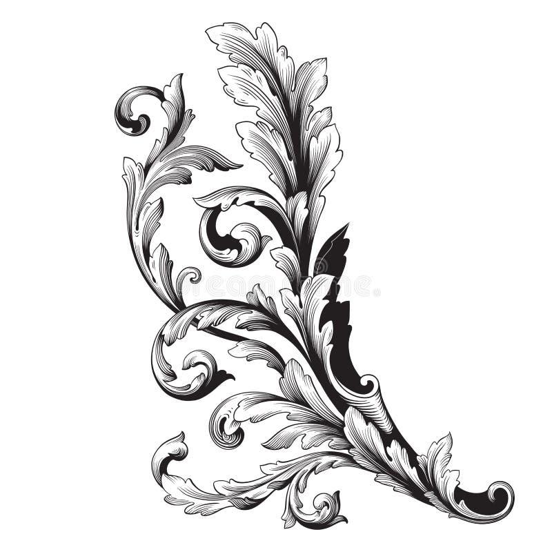 Prydnadvektorbarock vektor illustrationer