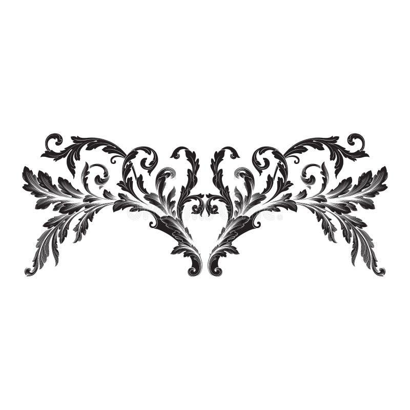 Prydnadvektorbarock royaltyfri illustrationer
