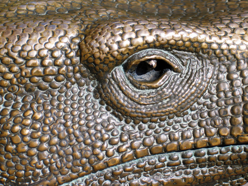 Prying Eye. This is a close up image of a monitor sculpture in the sculpture garden at the Henry Doorly Zoo royalty free stock photography