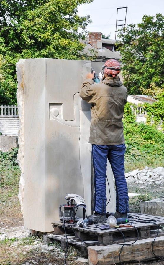 Pryluky, Ucrania - 09/14/2018: Esculpa el simposio, creación de imagen de archivo libre de regalías