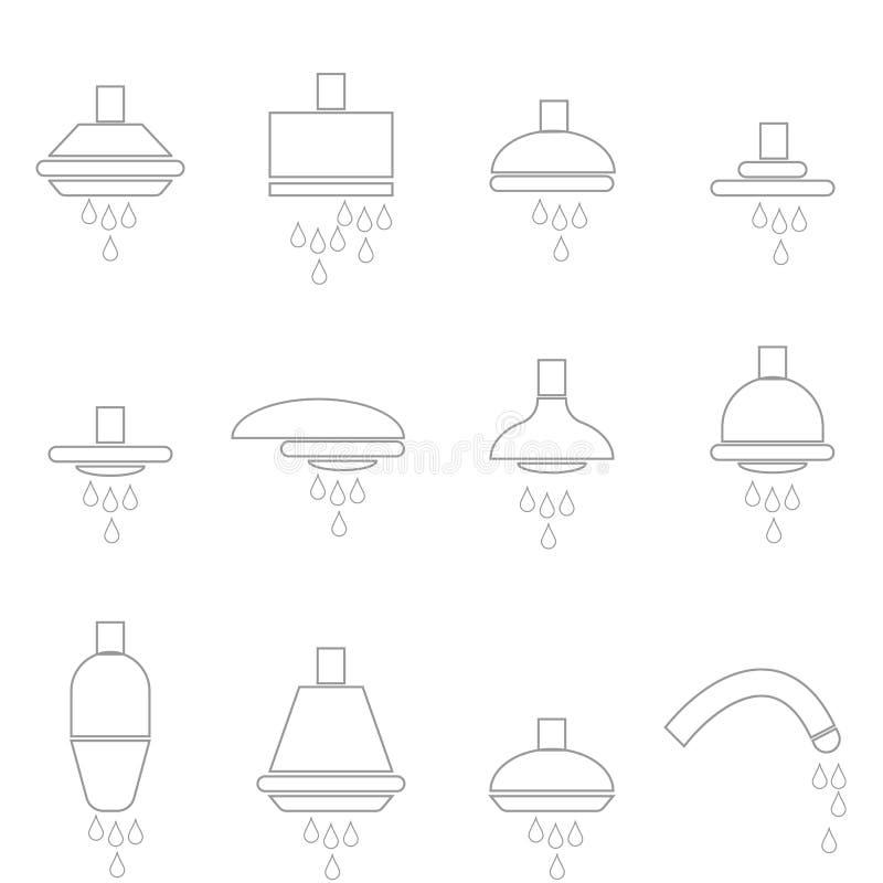 Prysznic głów faucet ikony katalog ilustracja wektor