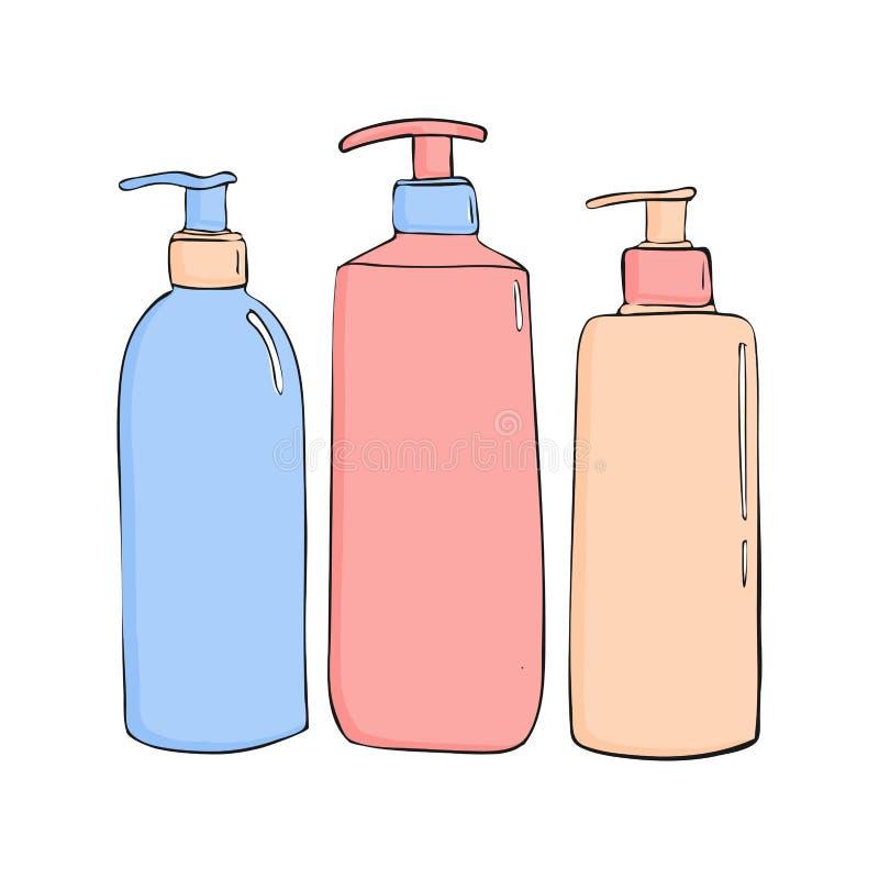 prysznic gel butelki z aptekarką Ustawia kosmetyk ikonę Modny kreskówka styl Higiena i opieki zdrowotnej ilustracja piękno przedm ilustracja wektor
