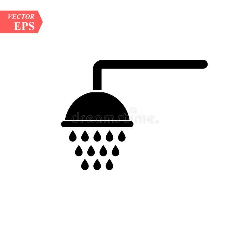Prysznic ikona wypełniający mieszkanie znak dla mobilnego pojęcia i sieć projekta Showerheads prosta stała ikona Symbol, logo ilu royalty ilustracja