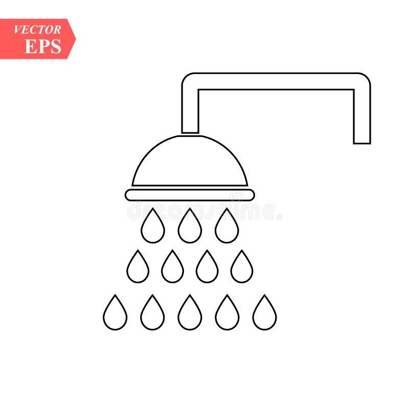 Prysznic konturu ikona liniowy stylu znak dla mobilnego pojęcia i sieć projekta Showerheads prosta kreskowa ikona Symbol, loga il ilustracja wektor