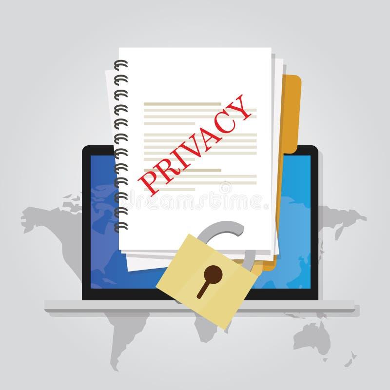 Prywatność online dokumentu dane ochrony zamknięta ochrona ilustracja wektor