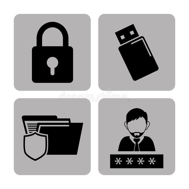 Prywatności i systemu bezpieczeństwa grafiki ikony royalty ilustracja