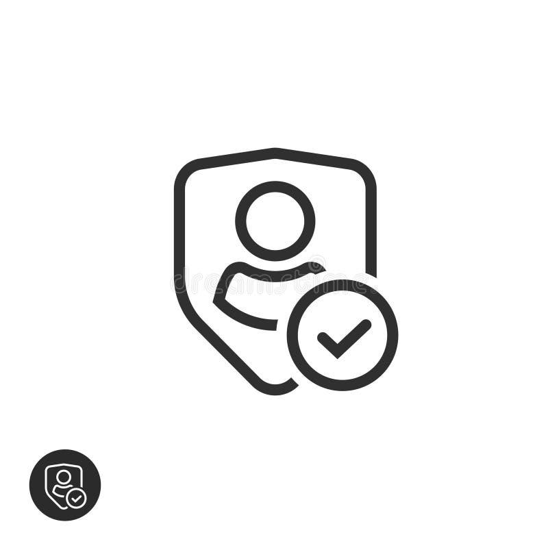 Prywatności ikony wektor, kreskowej sztuki konturu osłona z użytkownik sylwetki symbolem, osobistej ochrony autentyczny znak ilustracja wektor