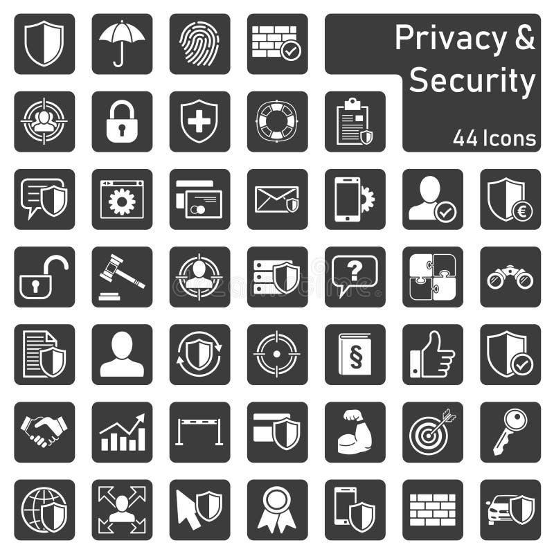 Prywatności ochrony ikony set royalty ilustracja