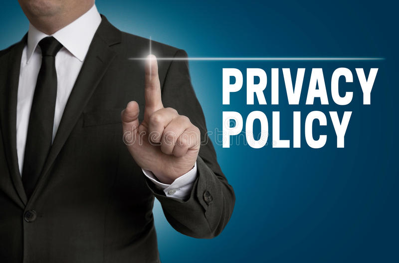Prywatności polisy ekran sensorowy działa biznesmenem zdjęcia royalty free