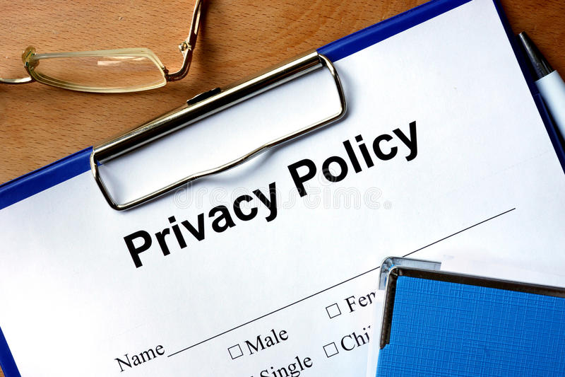 Prywatności polisy forma fotografia royalty free