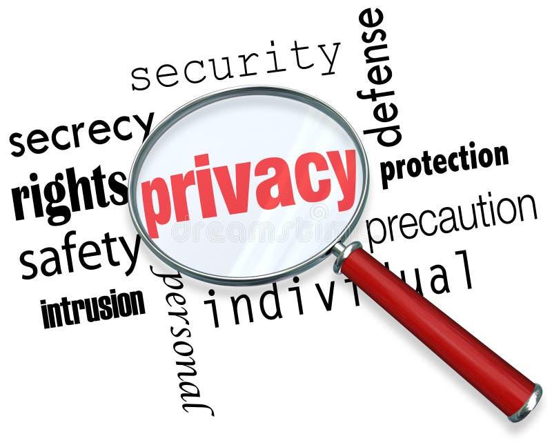 Prywatności słowa Powiększać - szklana Online ochrony tożsamości kradzież royalty ilustracja