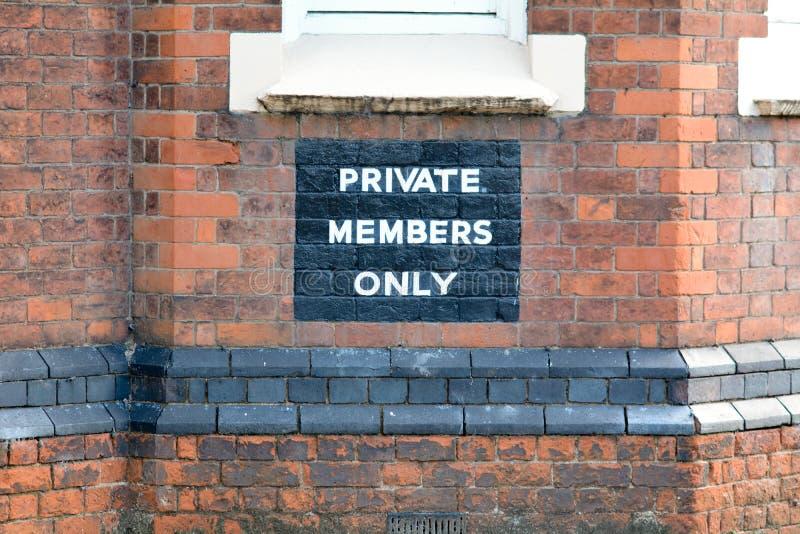 Prywatnych Członków Tylko znak obrazy royalty free