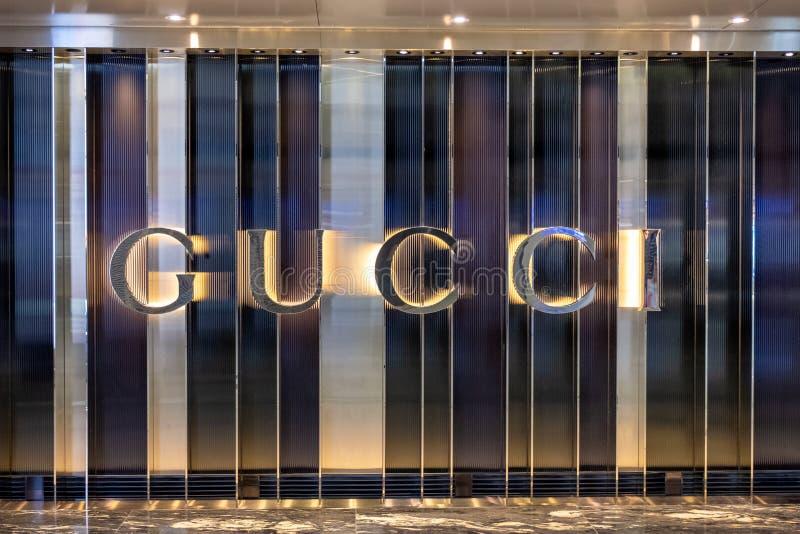 Przód gatunku imienia sklepu GUCCI sklep z nowożytnym luksusowym projektem zdjęcie royalty free