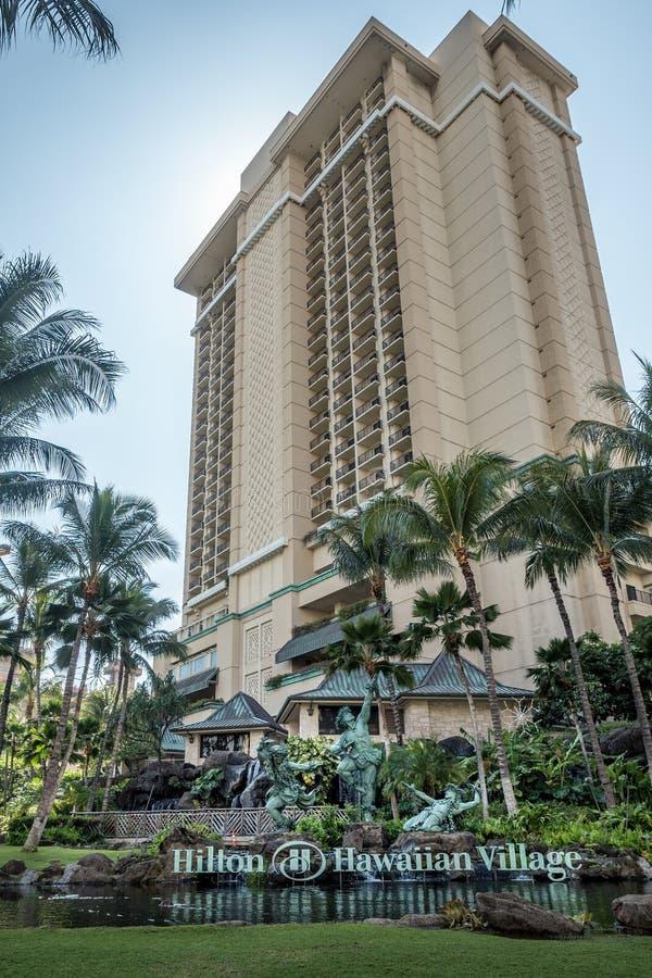 Przód Hilton wioski Hawajski kurort zdjęcia royalty free