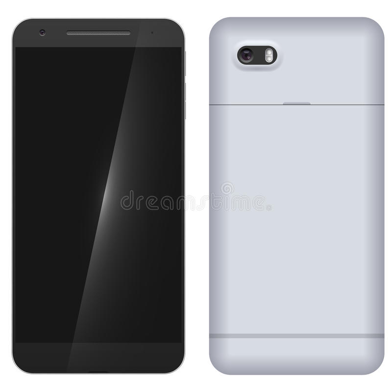 Przód i plecy nowożytny telefon komórkowy ilustracja wektor