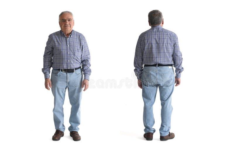 Przód i plecy starszy mężczyzna odizolowywający na bielu obrazy royalty free