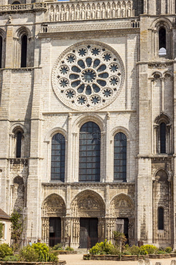 Przód katedra Nasz dama Chartres (Cathédrale Da fotografia stock