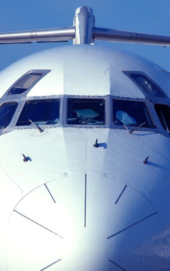 przód samolotu odrzutowiec pasażera widok zdjęcie stock