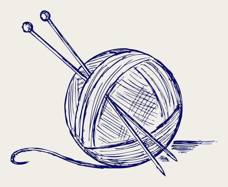 Przędz piłki z igłami royalty ilustracja