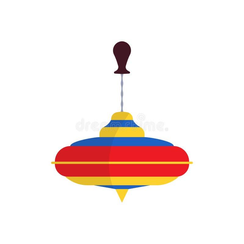 Przędzalnianego wierzchołka ikony zabawki wektorowy płaski dziecko Gra odizolowywający zabawa dzieciaka czasu wolnego kreskówki k royalty ilustracja