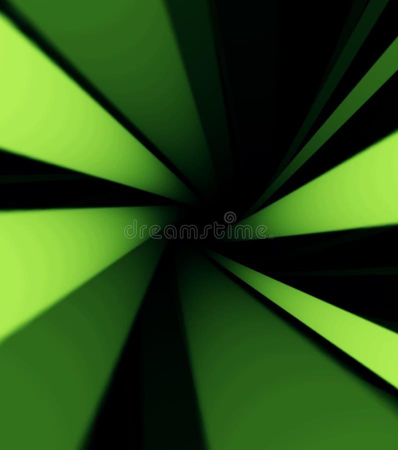 Przędzalniany jaskrawy symmetric lej zielone i białe linie, 3D druk Kolorowy tomowy rozjarzony zawijas na czarnym tle ilustracja wektor