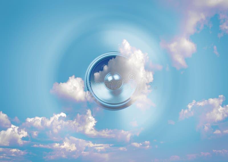 Przędzalniany muzyczny mówcy i nieba tło ilustracji