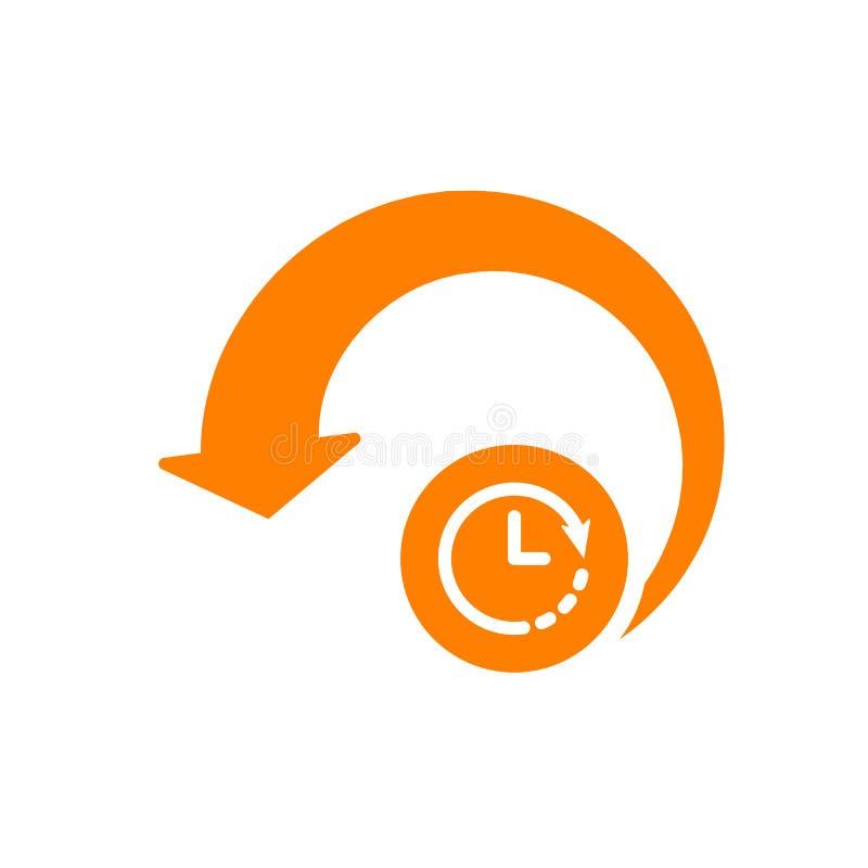 Przeładowywa ikonę, strzała ikona z zegaru znakiem Przeładowywa ikonę i odliczanie, ostateczny termin, rozkład, planistyczny symb royalty ilustracja