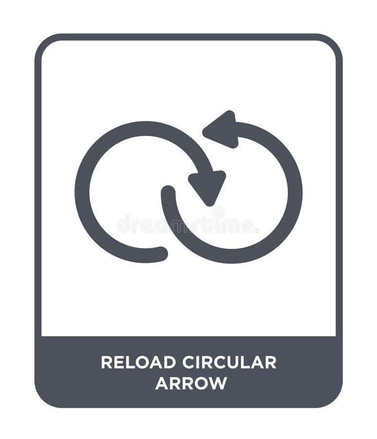 przeładowywa kółkową strzałkowatą ikonę w modnym projekta stylu przeładowywa kółkową strzałkowatą ikonę odizolowywającą na białym royalty ilustracja