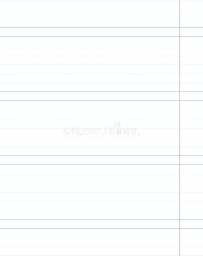 Prześcieradło papier szkoły notatnik w linii vertical tle ilustracja wektor