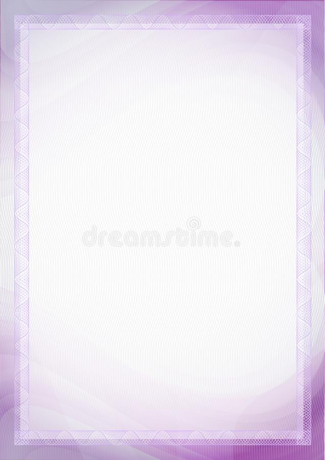 Prześcieradło papier z purpurami, fiołek giloszuje A4 wielkościowego puste miejsce dla dokumentów - świadectwa, dyplomy, ochrony, obraz stock