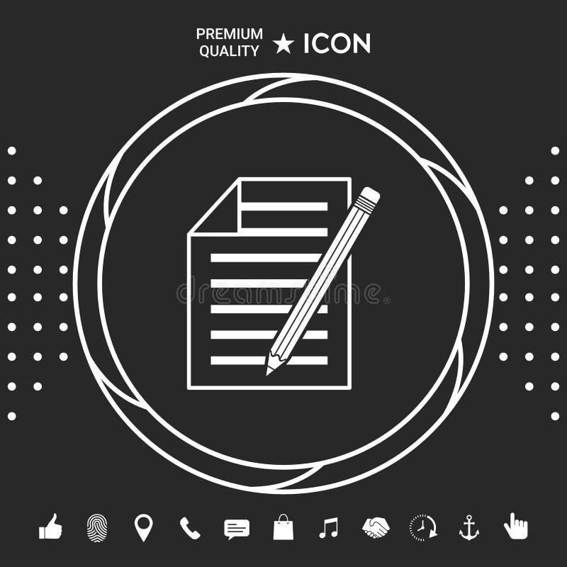 Prześcieradło papieru i ołówka ikona Graficzni elementy dla twój designt royalty ilustracja