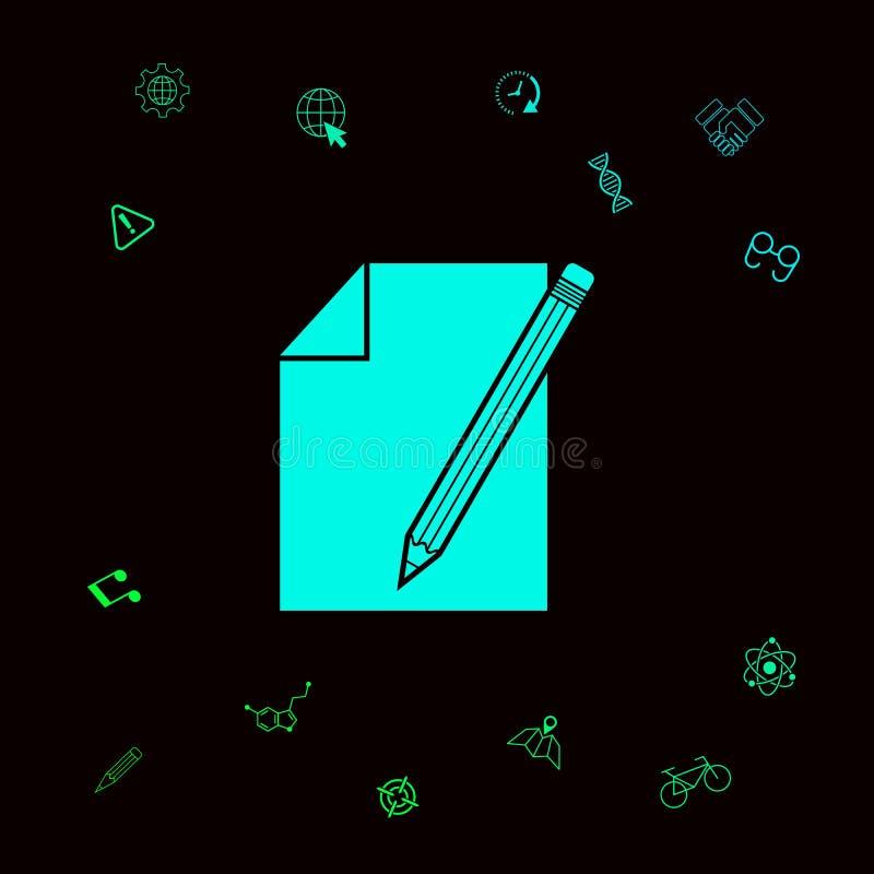 Prześcieradło papieru i ołówka symbolu ikona Graficzni elementy dla twój designt royalty ilustracja