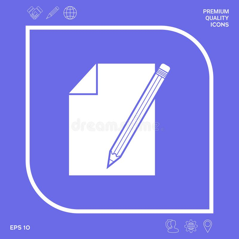 Prześcieradło papieru i ołówka symbolu ikona Graficzni elementy dla twój projekta royalty ilustracja