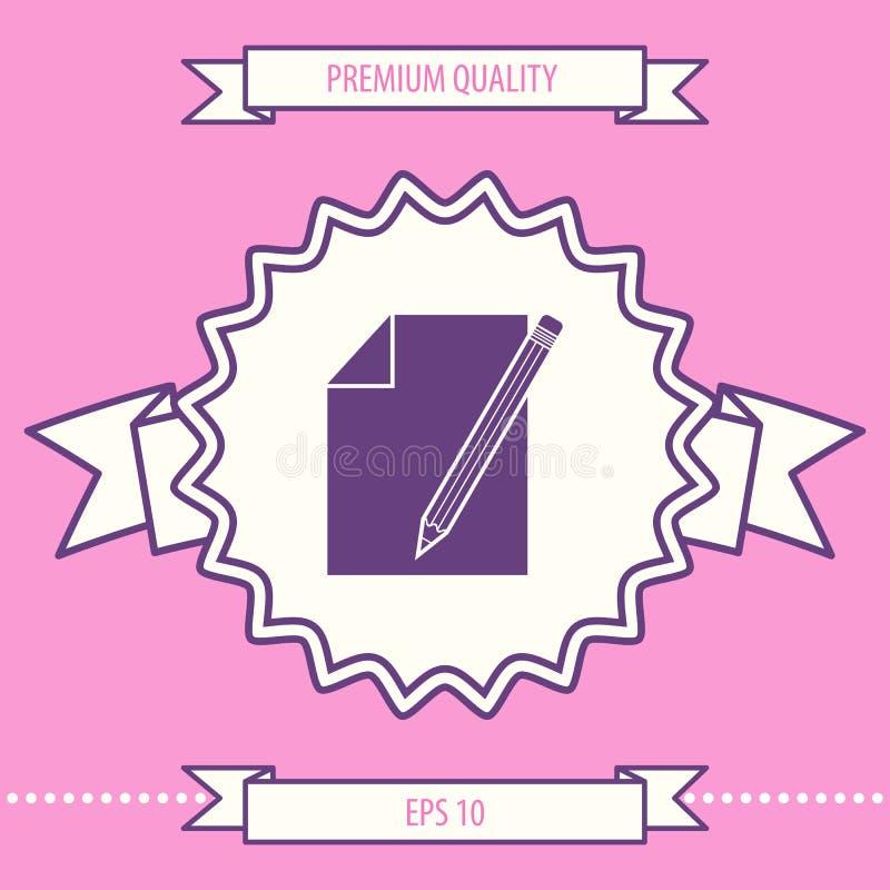 Prześcieradło papieru i ołówka symbolu ikona Graficzni elementy dla twój projekta ilustracja wektor