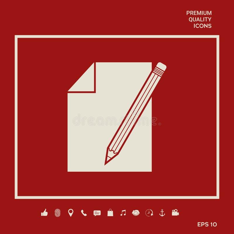 Prześcieradło papieru i ołówka symbolu ikona Graficzni elementy dla twój projekta ilustracji